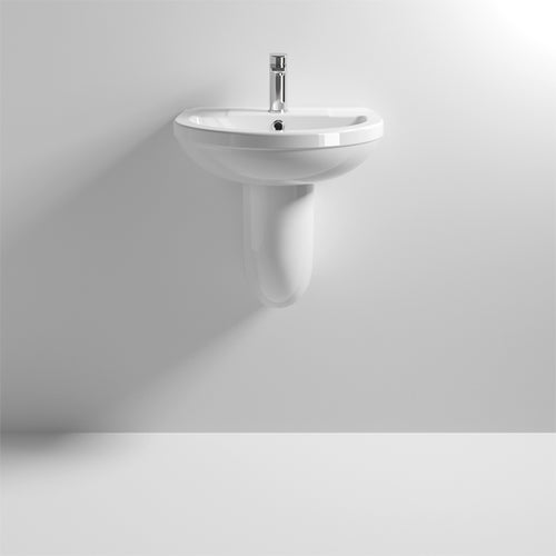 Nuie Harmony 500mm Basin with Semi Pedestal