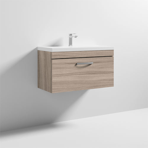 Nuie Athena 1 Drawer Wall Hung Vanity Unit with Thin Edge Basin 800mm