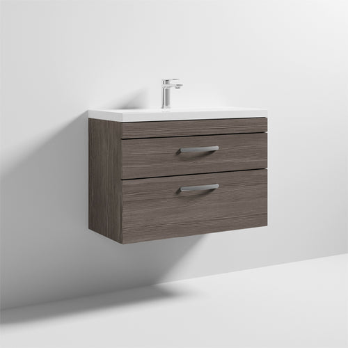 Nuie Athena 2 Drawer Wall Hung Vanity Unit with Thin Edge Basin 800mm