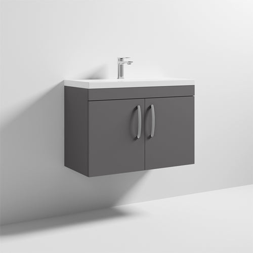 Nuie Athena 2 Door Wall Hung Vanity Unit with Thin Edge Basin 800mm