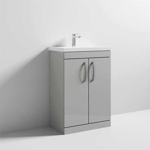 Nuie Athena 2 Door Floor Standing Vanity Unit with Thin Edge Washbasin 600mm