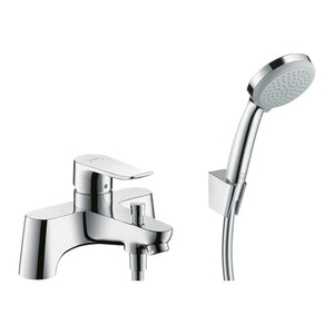 hansgrohe Metris 2-hole rim mounted bath mixer with diverter valve and Croma 100 hand shower Vario