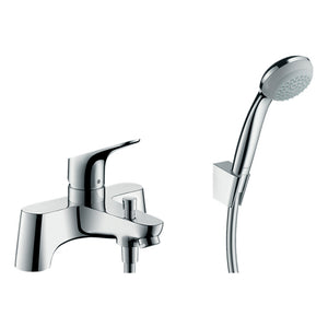 hansgrohe Focus 2-hole rim mounted bath mixer with diverter valve and Crometta 85 hand shower 1jet