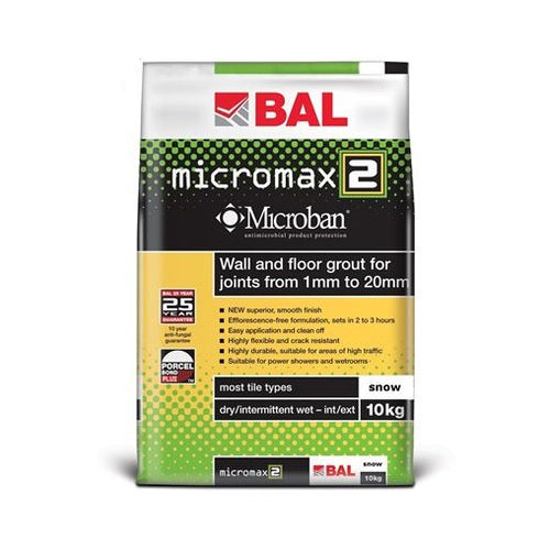 BAL Micromax2 Rapid Setting Tile Grout for Walls & Floors 10kg