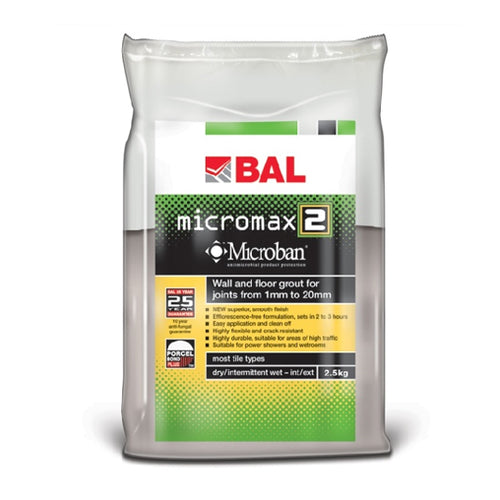 BAL Micromax2 Rapid Setting Tile Grout for Walls & Floors 2.5kg