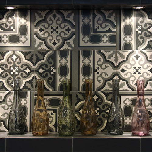 Lifestyle image of Victorian Florentine Tiles used as kitchen splashback