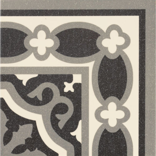 Victorian Florentine pattern tile corner piece in black