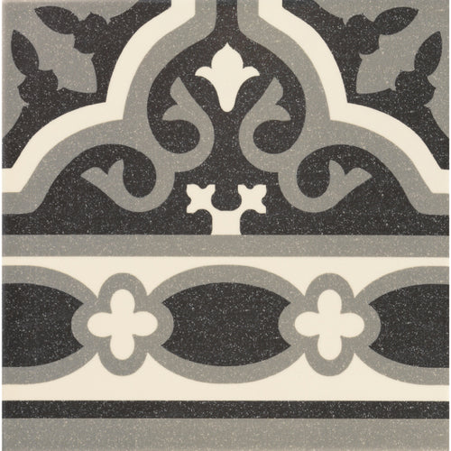Victorian Florentine pattern tile edge piece in black