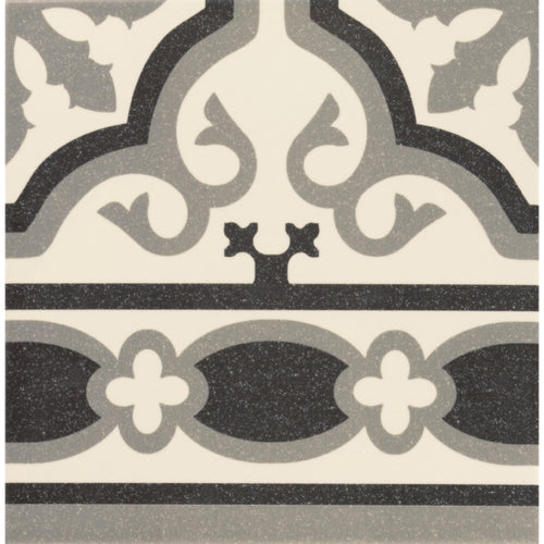Victorian Florentine pattern tile edge piece in white