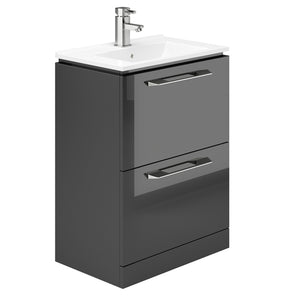 Weston 600mm 2 Drawer Floor Standing Vanity Unit Grey Gloss