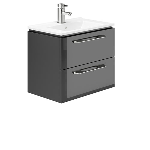 Weston 600mm 2 Drawer Wall Hung Vanity Unit Grey Gloss