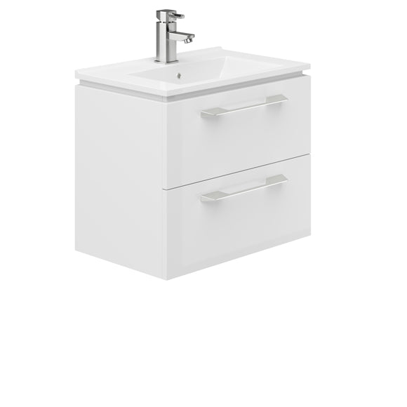Weston 600mm 2 Drawer Wall Hung Vanity Unit White Gloss