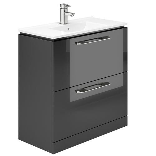 Weston 800mm 2 Drawer Floor Standing Vanity Unit Grey Gloss