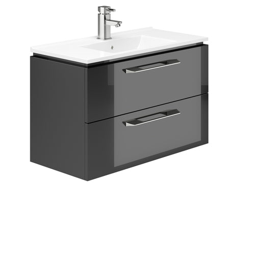 Weston 800mm 2 Drawer Wall Hung Vanity Unit Grey Gloss