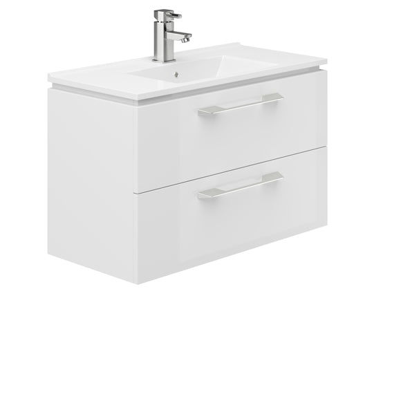 Weston 800mm 2 Drawer Wall Hung Vanity Unit White Gloss