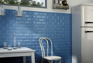 Kitchen with Metro Blue Tiles