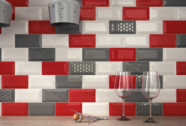 Metro Red White and Grey Tiles in Kitchen