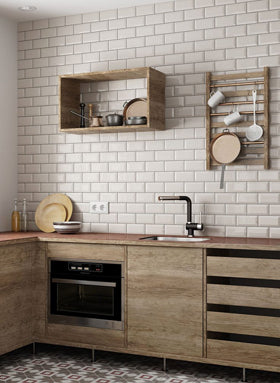 Cream Metro Tiles as a Kitchen Splashback