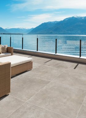 Outdoor paving tiles in pool area
