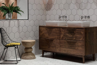 Walnut vanity unit at Halo Tiles and Bathrooms Showroom Wexford