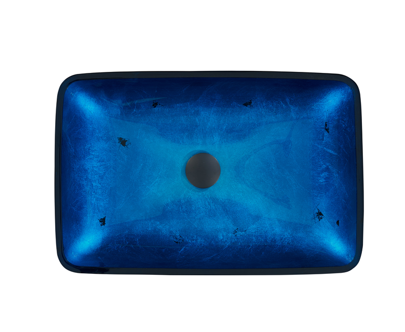 Ocean Blue Rectangle Glass Sink 523076