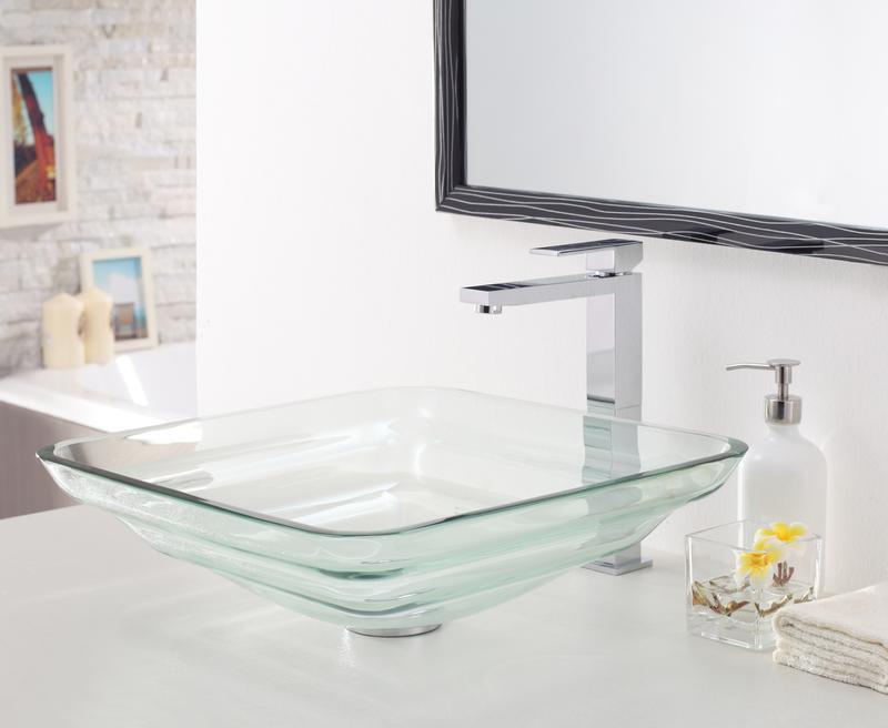 Layered Rectangle Glass Sink 523095 Clear