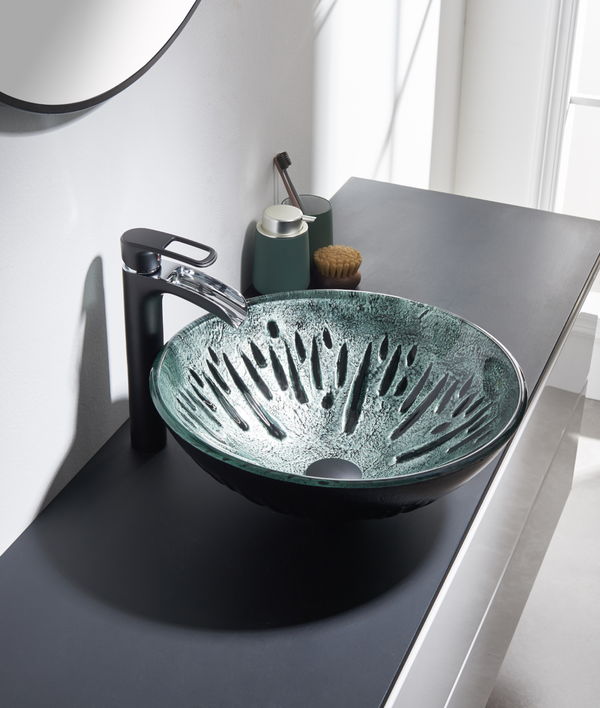 Silver & Black Glass Sink 523090