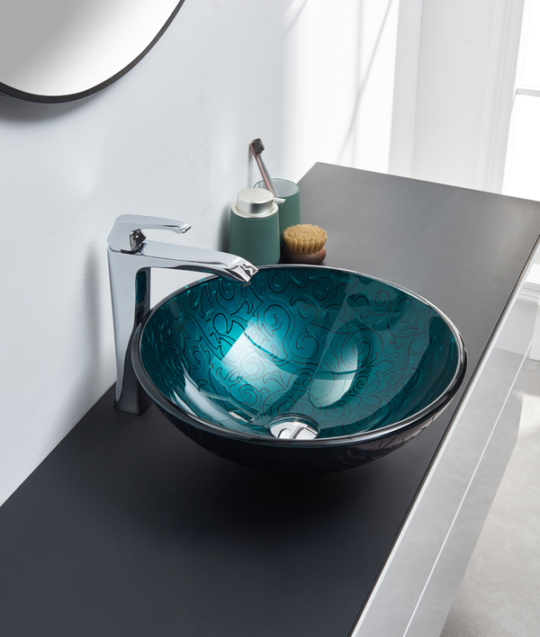 Metallic Blue Circular Glass Sink