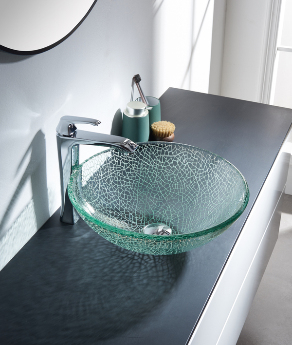 Sculptured Texture Glass Lavatory Sink