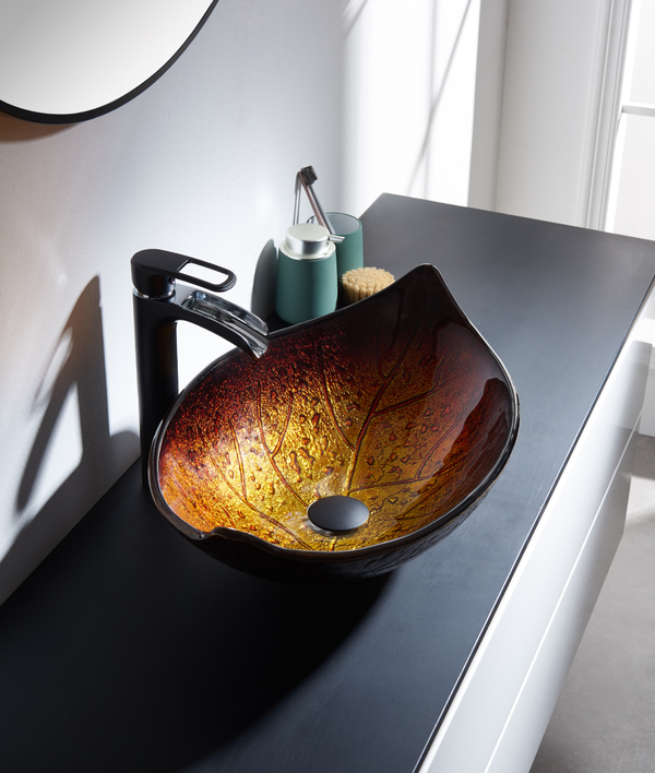 523073 Autumn Leaf Glass Sink Vessel