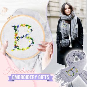 Floral Embroidery Scarf DIY Set (with scarf)