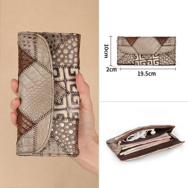 Glamour Stitch 0700203-B-2 / Russian Federation Genuine Leather Women Clutch Wallet Vintage Long Style Female Coin Purse Clamp Card Holders For Phone Bag Ladies Handy Purse