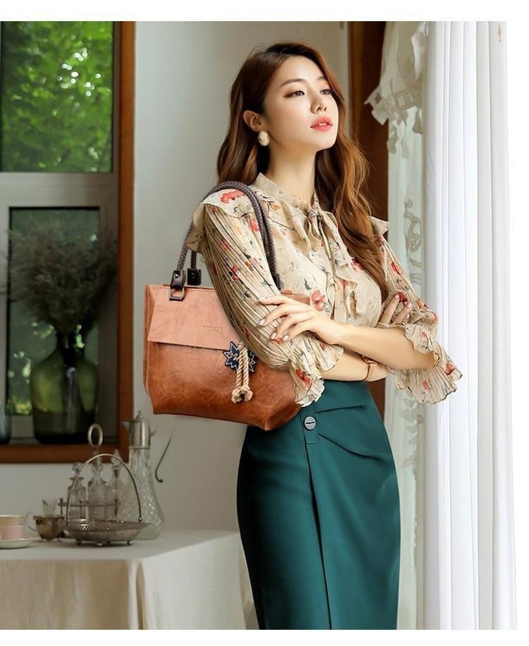 Glamour Stitch 2020 Women's Tote Bag Leather New Luxury Handbags Large Women's Shoulder Bag Fashion Vintage Female Shoulder Bag Designer