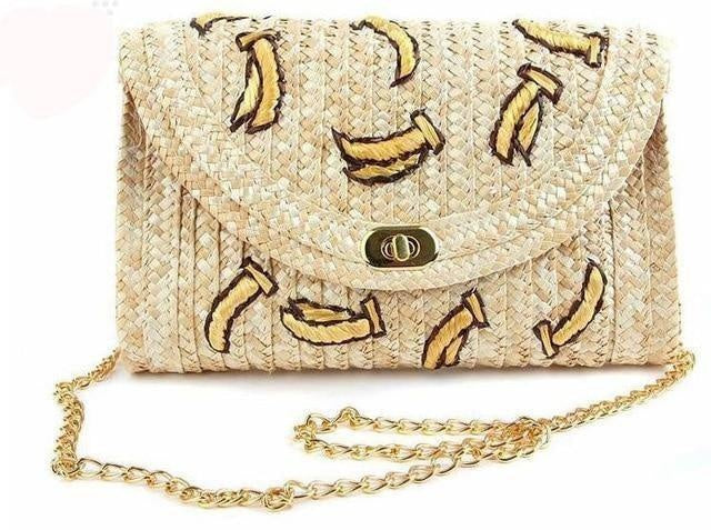 Glamour Stitch Banana / 28x5x16cm Cherry & Bananas Woman Straw Bag Crossbody Bags For Women Messenger Bags Woven Summer Chain Flap Clutch Beach Bag Bolsos Mujer