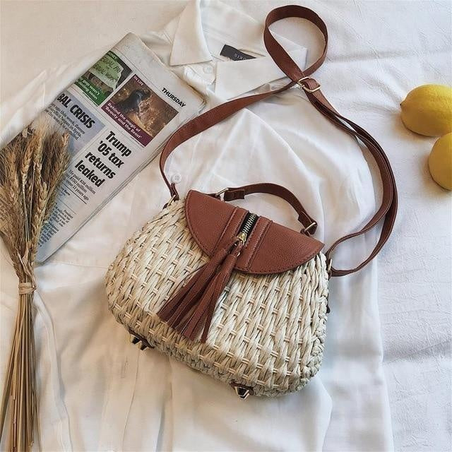 Glamour Stitch beige / 19x9x17cm Wicker Crossbody Bag