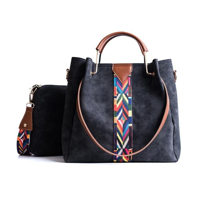 Glamour Stitch Black / 32(L)x13(W)x32(H)cm Colourful Straps PU Leather Hand Bag