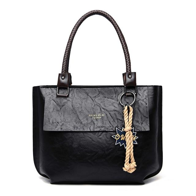 Glamour Stitch Black / 40X10X28CM 2020 Women's Tote Bag Leather New Luxury Handbags Large Women's Shoulder Bag Fashion Vintage Female Shoulder Bag Designer