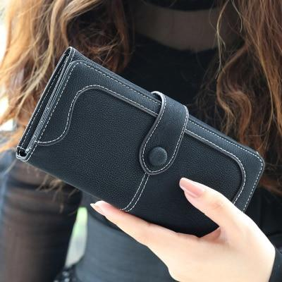 Glamour Stitch Black Many Departments Faux Suede Long Wallet Women Matte Leather Lady Purse High Quality Female Wallets Card Holder Clutch Carteras