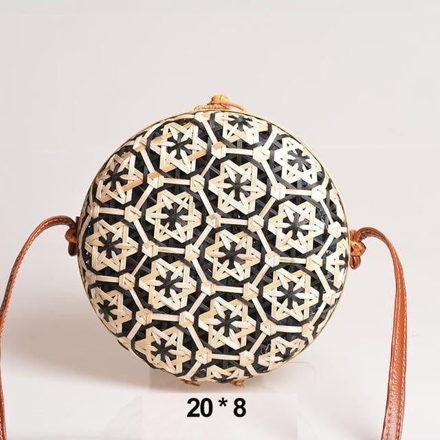 Glamour Stitch Black Realer Women Bag Rattan Woven Bag for Summer Straw Bag Bohemia Beach Bag for Travel Crossbody Bag Round Bamboo for Ladies 2020