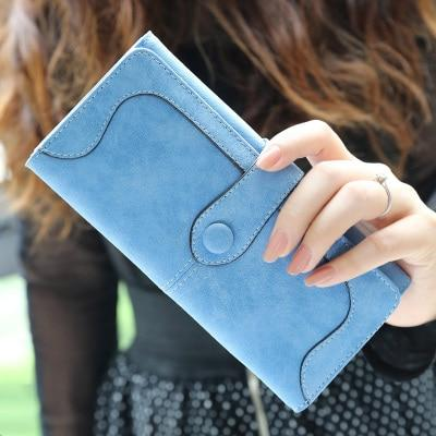 Glamour Stitch Blue Many Departments Faux Suede Long Wallet Women Matte Leather Lady Purse High Quality Female Wallets Card Holder Clutch Carteras
