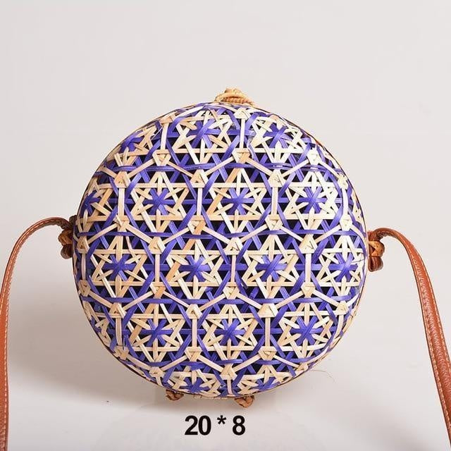 Glamour Stitch Blue Realer Women Bag Rattan Woven Bag for Summer Straw Bag Bohemia Beach Bag for Travel Crossbody Bag Round Bamboo for Ladies 2020
