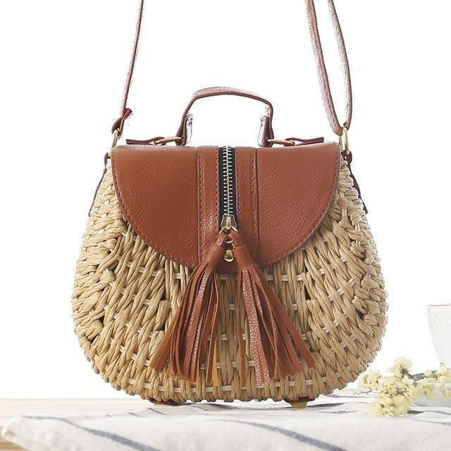 Glamour Stitch brown / 19x9x17cm Wicker Crossbody Bag
