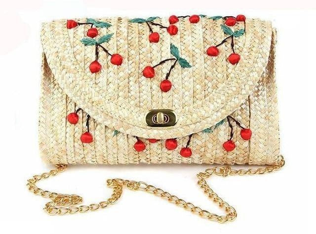Glamour Stitch Cherry / 28x5x16cm Cherry & Bananas Woman Straw Bag Crossbody Bags For Women Messenger Bags Woven Summer Chain Flap Clutch Beach Bag Bolsos Mujer