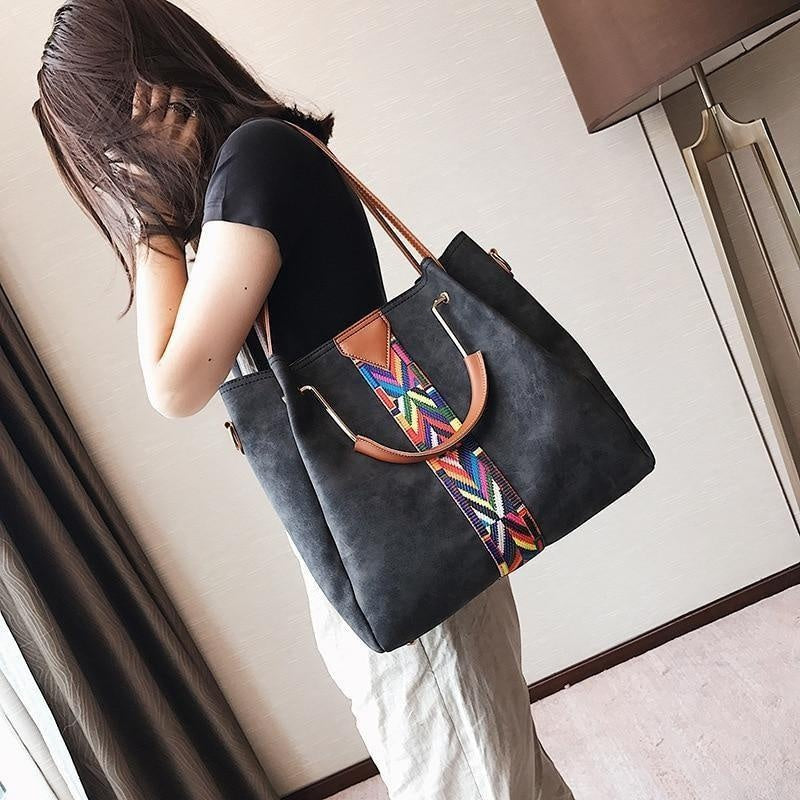 Glamour Stitch Colourful Straps PU Leather Hand Bag
