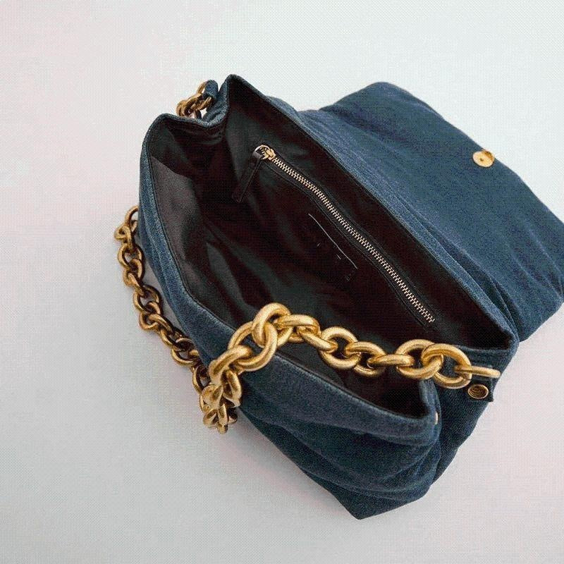 Glamour Stitch Denim Chain Clutch