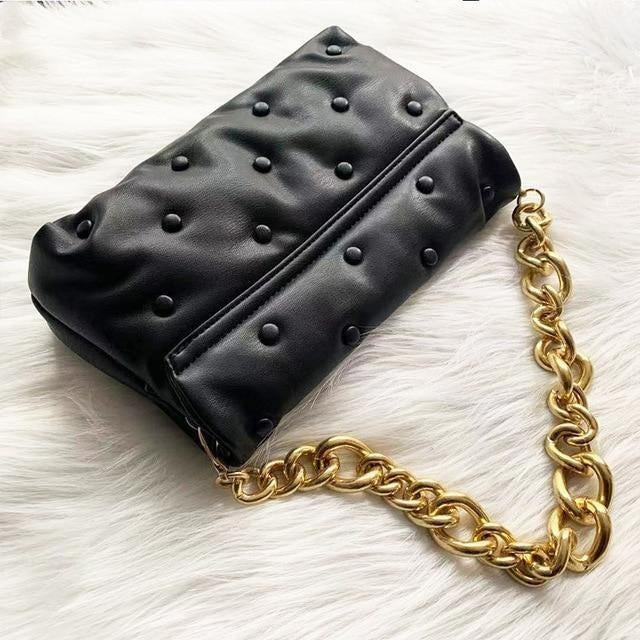 Glamour Stitch Gold chain black / (20cm<Max Length<30cm) Denim Chain Clutch