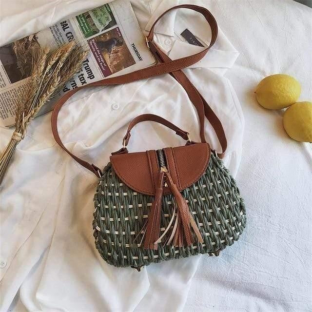 Glamour Stitch green / 19x9x17cm Wicker Crossbody Bag