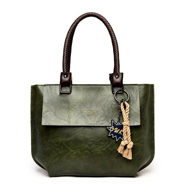 Glamour Stitch green / 40X10X28CM 2020 Women's Tote Bag Leather New Luxury Handbags Large Women's Shoulder Bag Fashion Vintage Female Shoulder Bag Designer