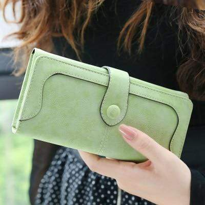 Glamour Stitch Green Many Departments Faux Suede Long Wallet Women Matte Leather Lady Purse High Quality Female Wallets Card Holder Clutch Carteras