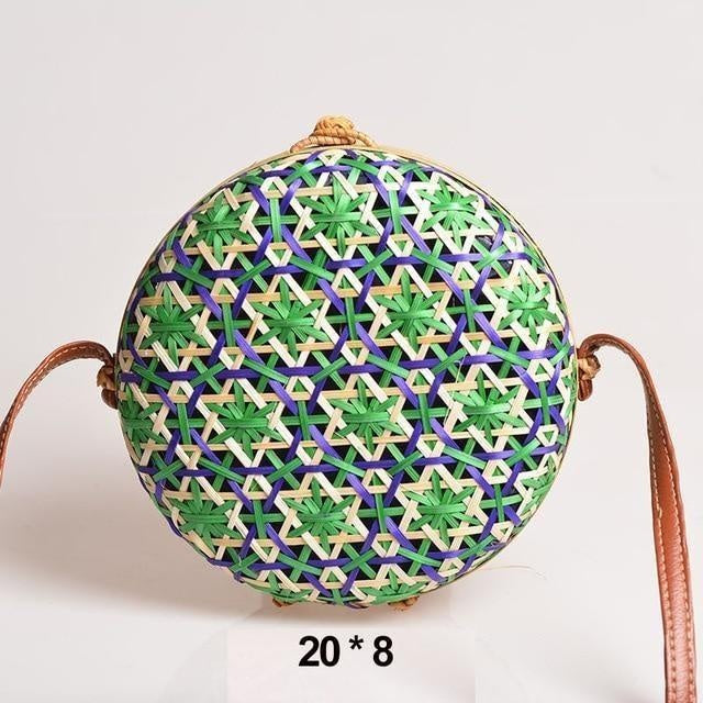Glamour Stitch green Realer Women Bag Rattan Woven Bag for Summer Straw Bag Bohemia Beach Bag for Travel Crossbody Bag Round Bamboo for Ladies 2020